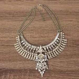 Fayola Silver Crystal Statement Necklace